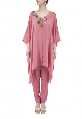 Onion Pink Sequin Tiled Embroidered Cape Dress with Trouser