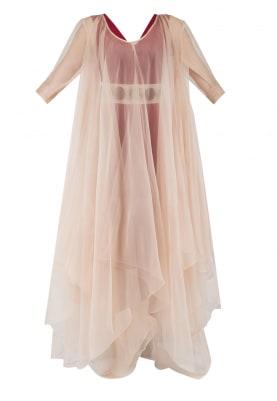 Light Beige and Maroon Dobule Layered Long Dress