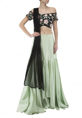 Black Off-Shoulder Embroidered Blouse, Dupatta, and Mint Green Plain Skirt
