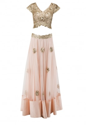Pastel Pink and Golden Sequin Embroidered Blouse, Lehenga and Dupatta