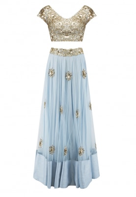 Pastel Blue and Golden Sequin Embroidered Blouse, Lehenga and Dupatta