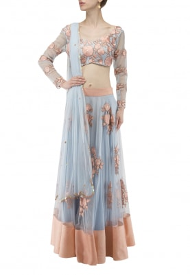Pastel Blue and Pink Thread Embroidered Blouse, Lehenga and Dupatta