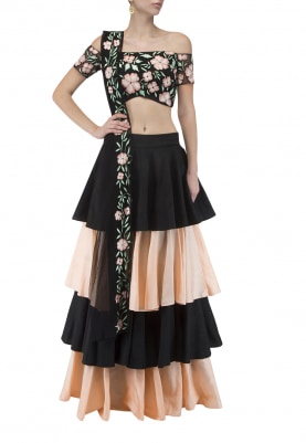 Black Off-Shoulder Floral Embroidered Blouse and Dupatta with Black and Peach Ruffle Tier Skirt