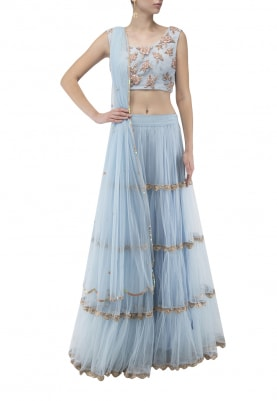 Blue with Pastel Pink Zardozi Embroidered Choli with Lace Tiered Skirt and Dupatta