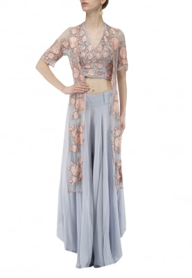 Blue with Pink Thread Embroidered Halter Blouse and Long Jacket Paired with Bias Cut Palazzo