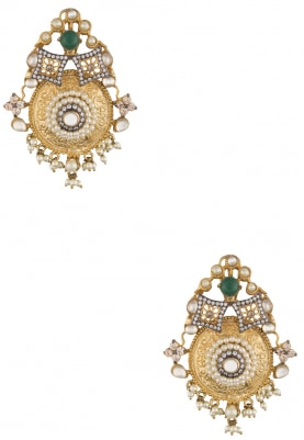 Gold Finish Pearl and Green Stone Statement Earrings