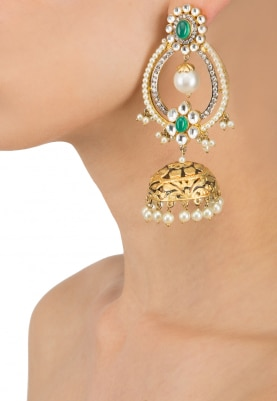 Gold Finish Kundan and Green Stone Chandbali Earrings