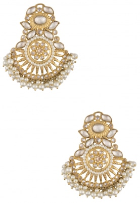 Gold Finish Kundan Statement Earrings