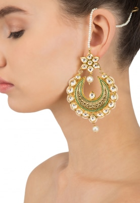 Gold Finish Kundan Studded Crescent Earrings
