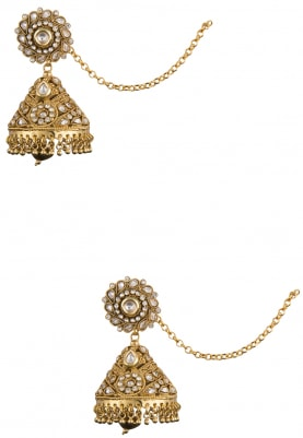 Antique Gold Finish Kundan and Zircons Earrings