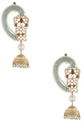 Gold Finish Blue Beads and Kundan Kanphool Earrings