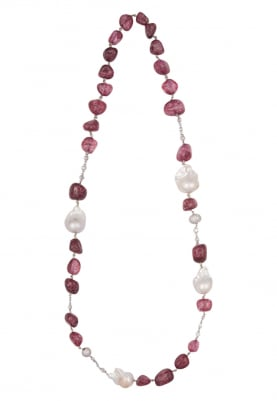 Silver Finish White and Ruby Stone Necklace