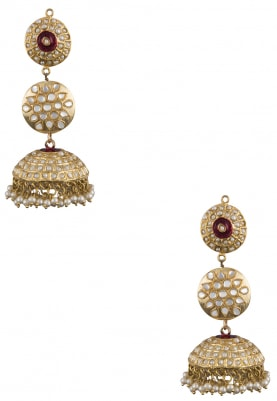 Gold Plated Kundan Navratna Tiered Jhumka