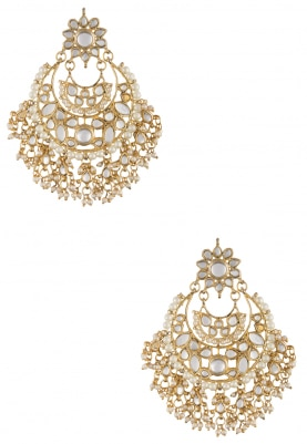 Gold Plated Kundan and Pearl Traditional Chandbali