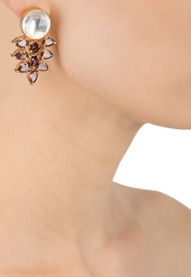 Gold Finish Kundan and Purple Stone Studs