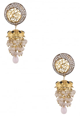Gold Plated Pink Chandlier Earrings