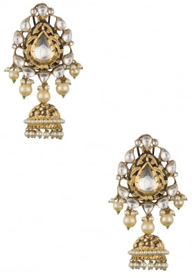 Antique Gold Plated Kundan Jhumka Drop Earrings