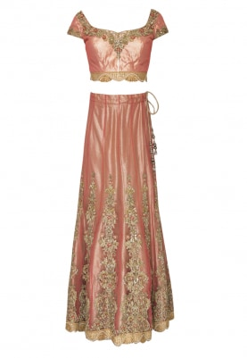 Berry Pink Embellished and Hand Embroidered Lehenga, Choli and Dupatta