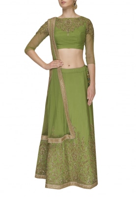 Green Embellished Lehenga Set with Tulle Dupatta