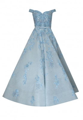 Powder Blue Ball Gown with Embellishment and Embroidery Patterned and Placed All-Over