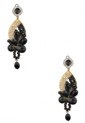 Silver and Gold Finish Crystal and Black Stone Dangler Earrings