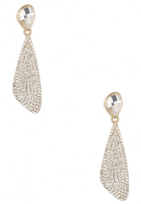 Gold Finish Silver Crystal Studded Earrings
