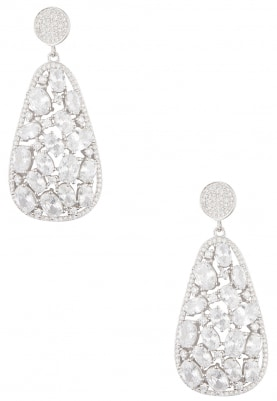 Silver Finish Crystal Studded Earrings
