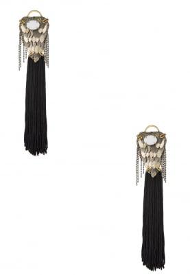 18K Rose Gold Finish Black Tasseled Earrings