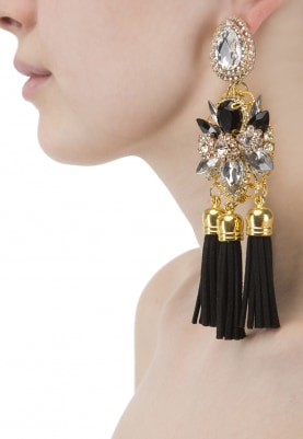 Gold and Silver Finish Crystal and Black Tasseled Earrings