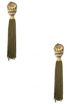 18K Rose Gold Finish Green Tasseled Earrings