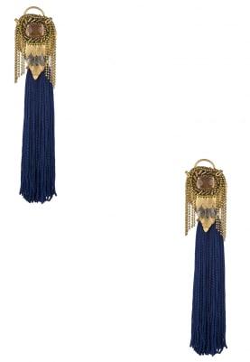 18K Rose Gold Plated Royal Blue Tasseled Earrings