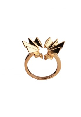 Gold Finish Open Thorns Ring