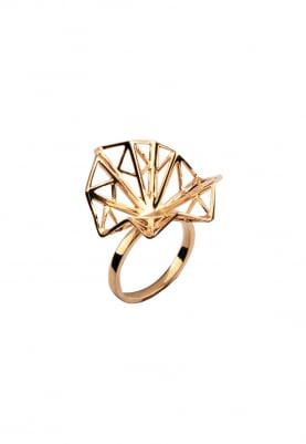 Gold Finish Geometric Detailed Ring