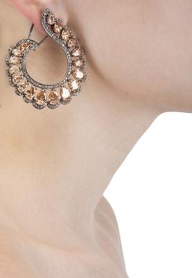 18K Antique Rose Gold Finish Earrings