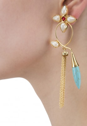 Gold Finish Water Pearl and Crystal Earrings
