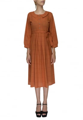 Rust Brown Check Shirt Style Dress