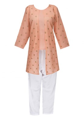 Peach Top and Jacket with White Trouser Pant
