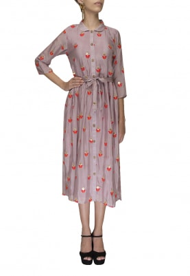 Pastel Chinon Floral Gota Embroidery Shirt Style Dress