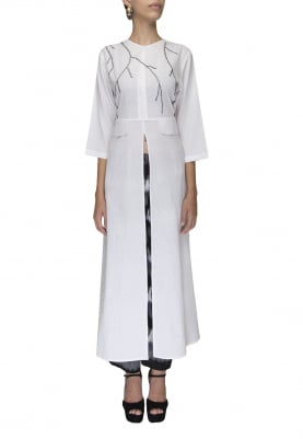 White Hand Embroidered Kurta with Black Ikat Pant