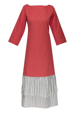 Red Dress with Multi-Layer Tier Ruffle At Hemline