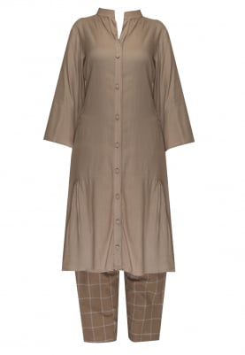 Biscuit Colored Tunic Top with Brown Checks Pant