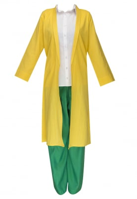 Yellow Jacket with White Shirt and Green Palazzo Pant