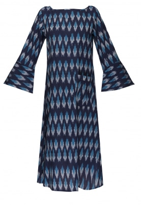 Blue Ikat Pattern Dress with Bell Ruffle Sleeves