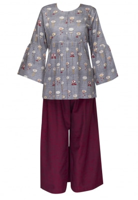 Grey Printed Top with Maroon Plazzo Pant