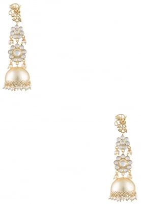 Gold Finish Kundan and Pearl Jhumki Earrings