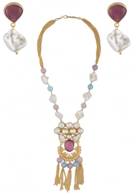 Royal Crystal Studded Necklace Set