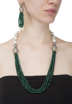 Green Crystal Studded Baroque Necklace Set