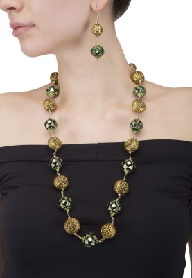 Green and Golden Crystal Beads Necklace Set