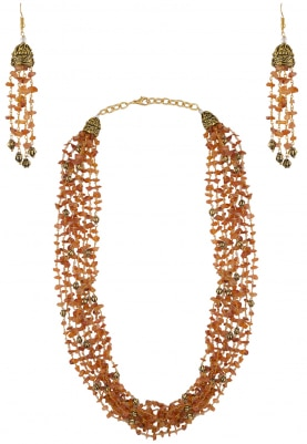 Orange and Gold Beads Layered Necklace Set