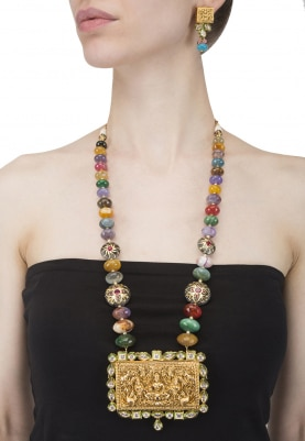 Gold Finish Multicolor Crystal and Pendant Necklace Set